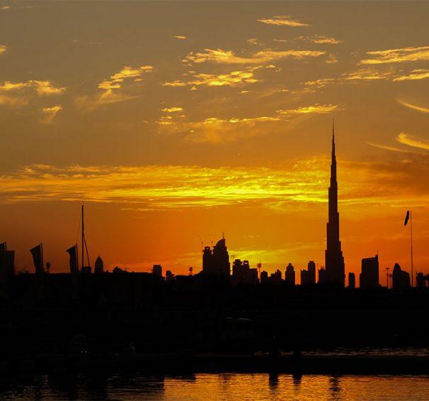 Dubai, Arab Emirates - November 19, 2010: View at Burj Khalifa in Dubai at sunset.  This skyscraper is the tallest man-made structure ever built, at 828 m.